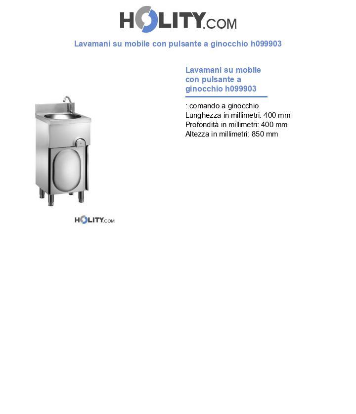 Lavamani su mobile con pulsante a ginocchio h099903