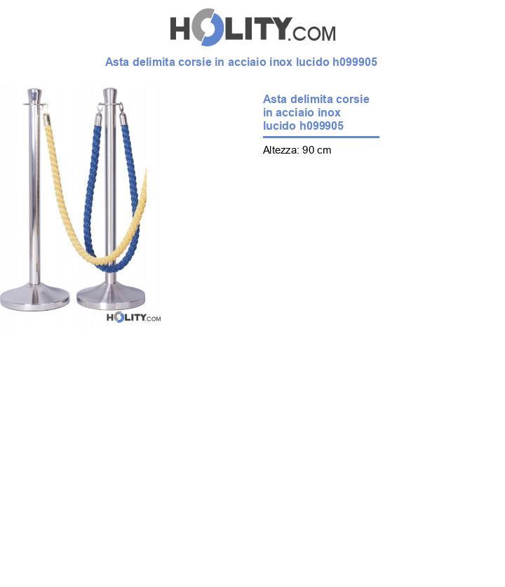 Asta delimita corsie in acciaio inox lucido h099905