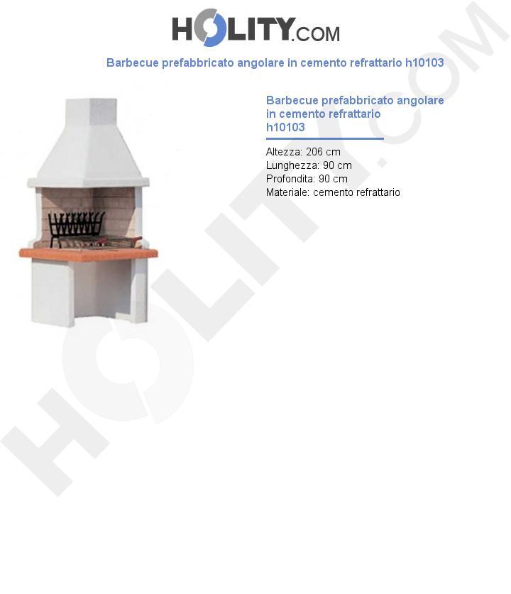 Barbecue prefabbricato angolare in cemento refrattario h10103
