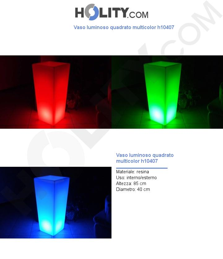 Vaso luminoso quadrato multicolor h10407