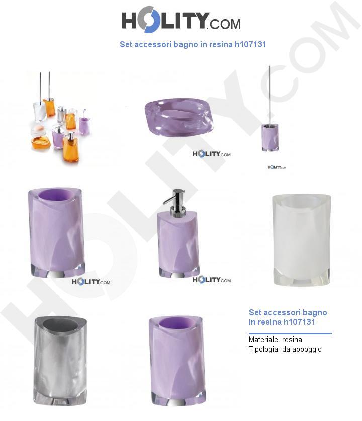Set accessori bagno in resina h107131