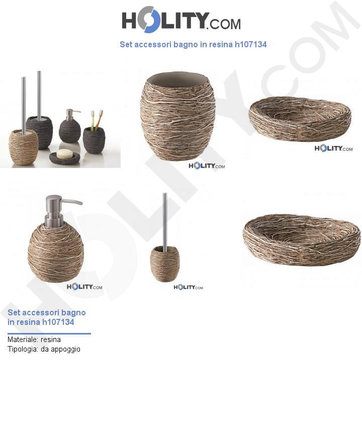 Set accessori bagno in resina h107134
