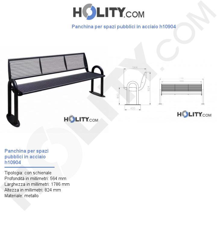 Panchina per spazi pubblici in acciaio h10904