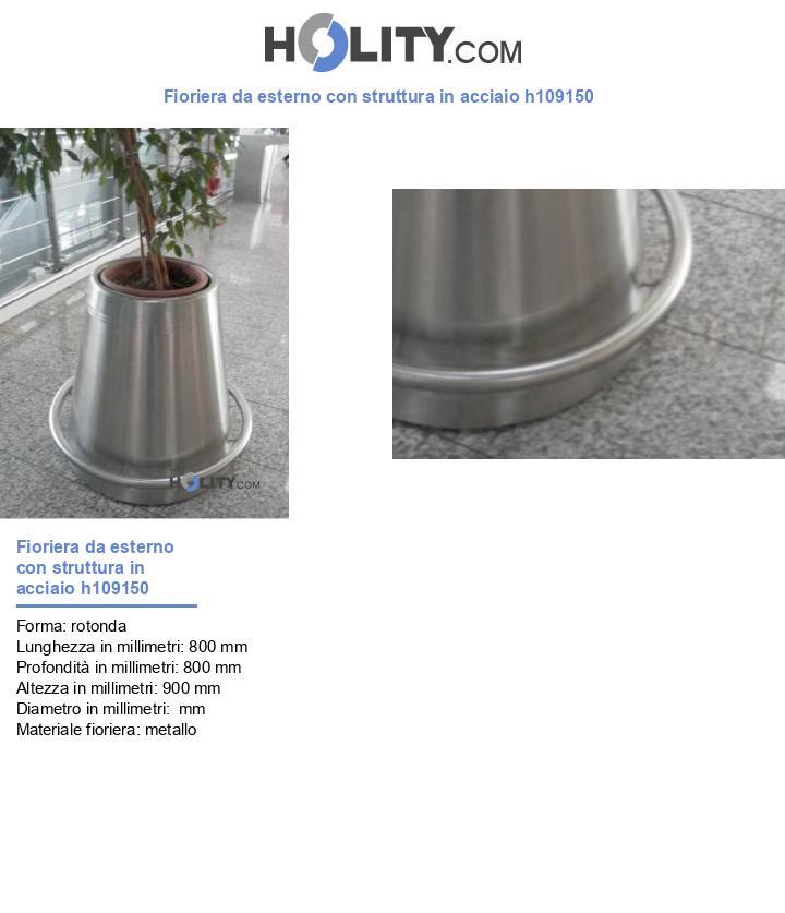 Fioriera da esterno con struttura in acciaio h109150