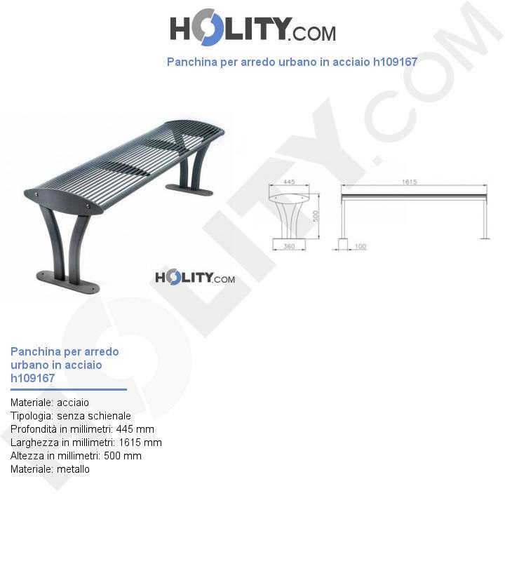 Panchina per arredo urbano in acciaio h109167
