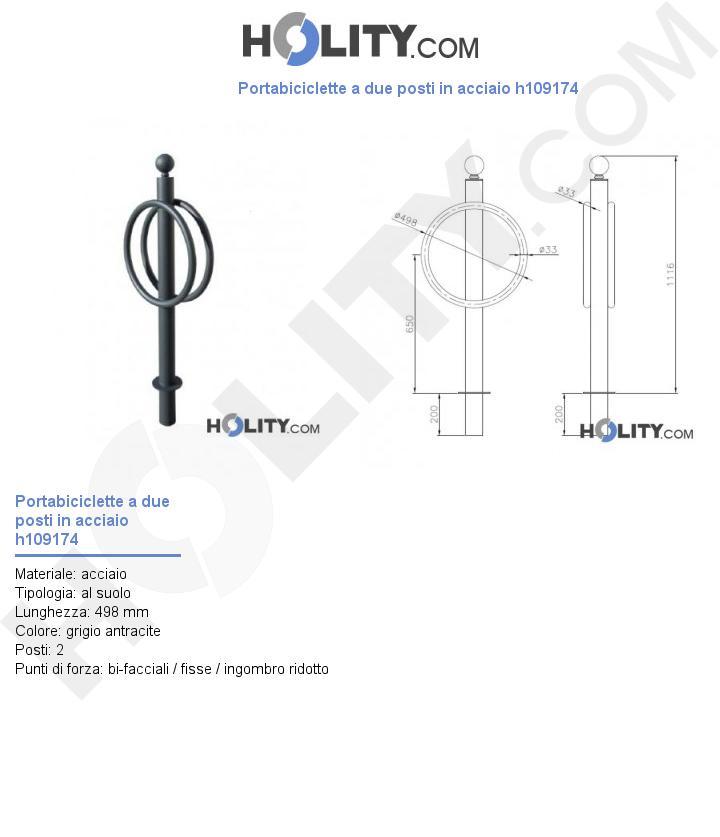 Portabiciclette a due posti in acciaio h109174