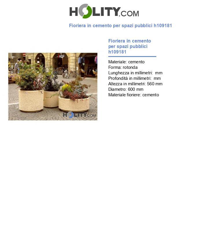 Fioriera in cemento per spazi pubblici h109181