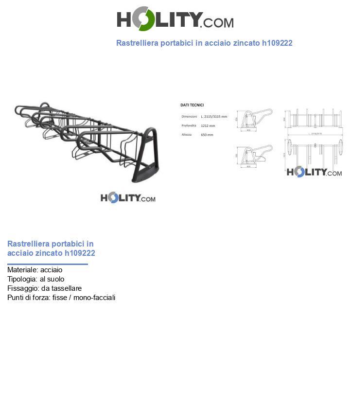Rastrelliera portabici in acciaio zincato h109222