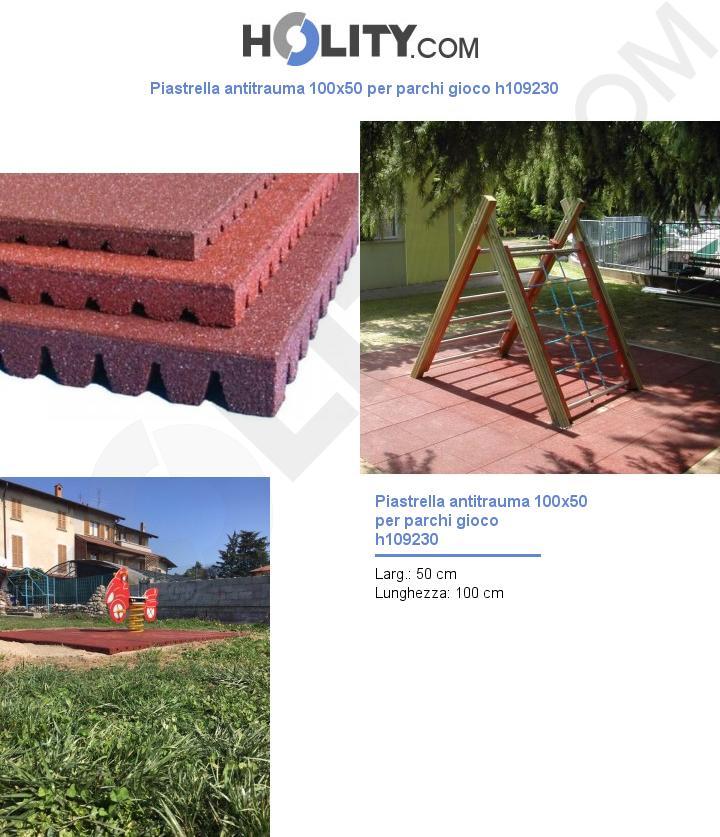Piastrella antitrauma 100x50 per parchi gioco h109230