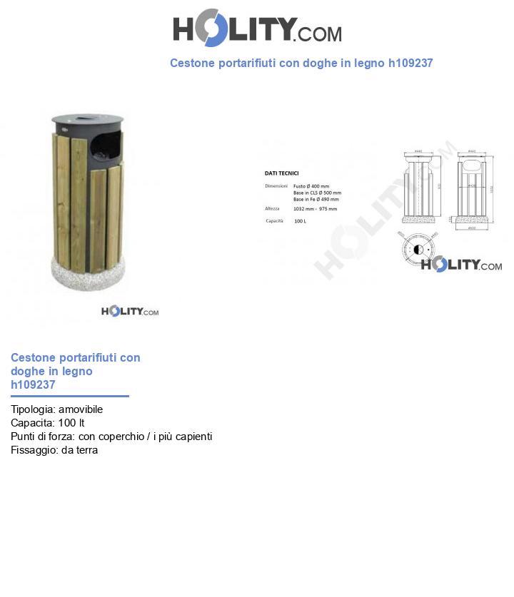 Cestone portarifiuti con doghe in legno h109237