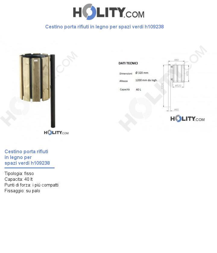 Cestino porta rifiuti in legno per spazi verdi h109238