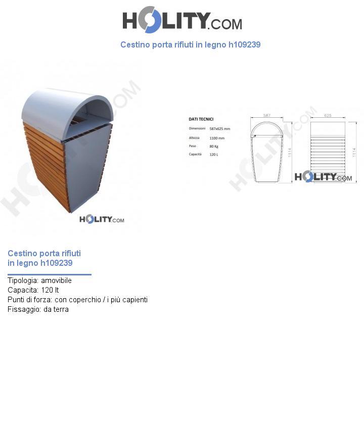 Cestino porta rifiuti in legno h109239
