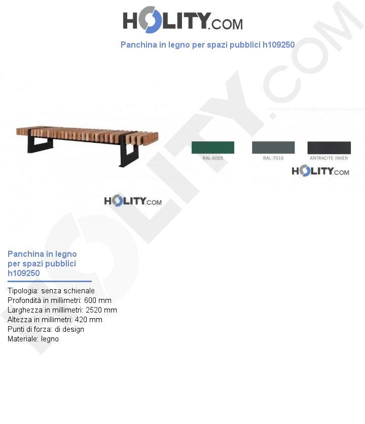 Panchina in legno per spazi pubblici h109250