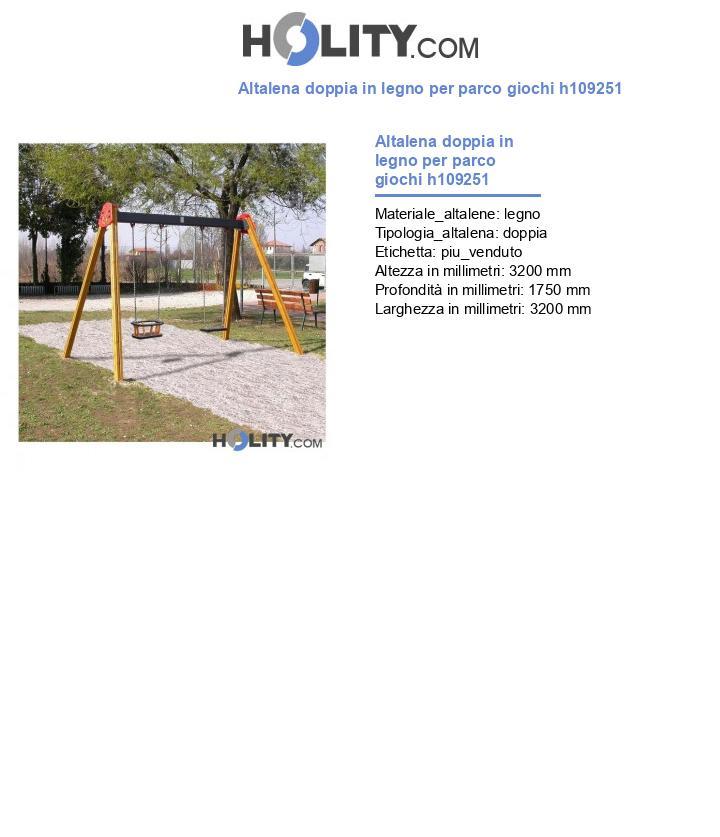 Altalena doppia in legno per parco giochi h109251