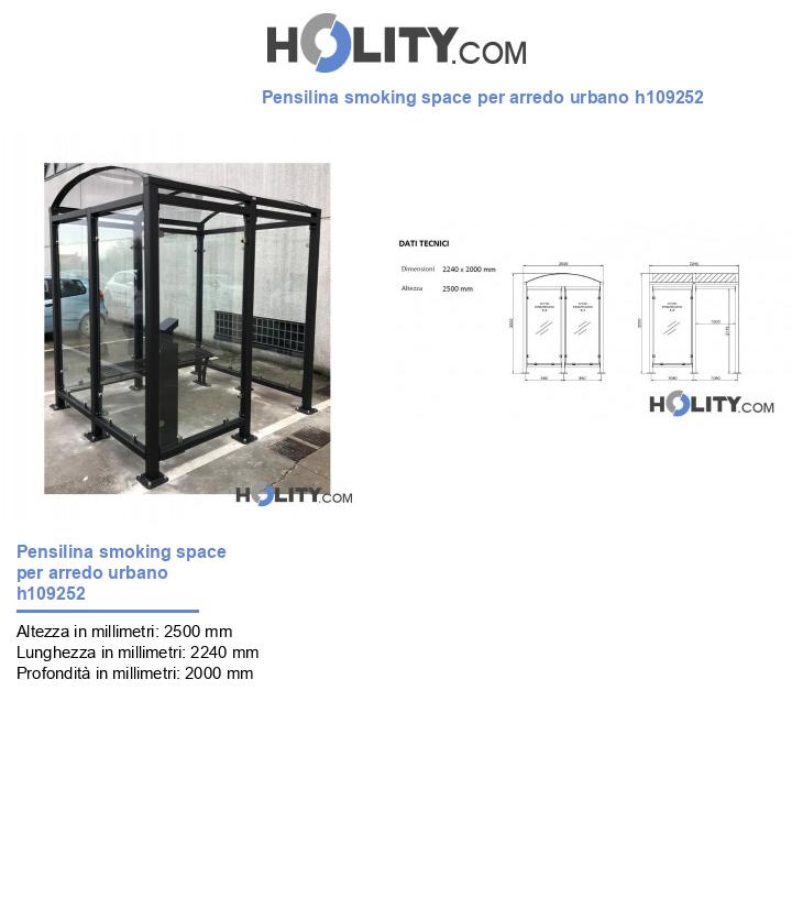 Pensilina smoking space per arredo urbano h109252