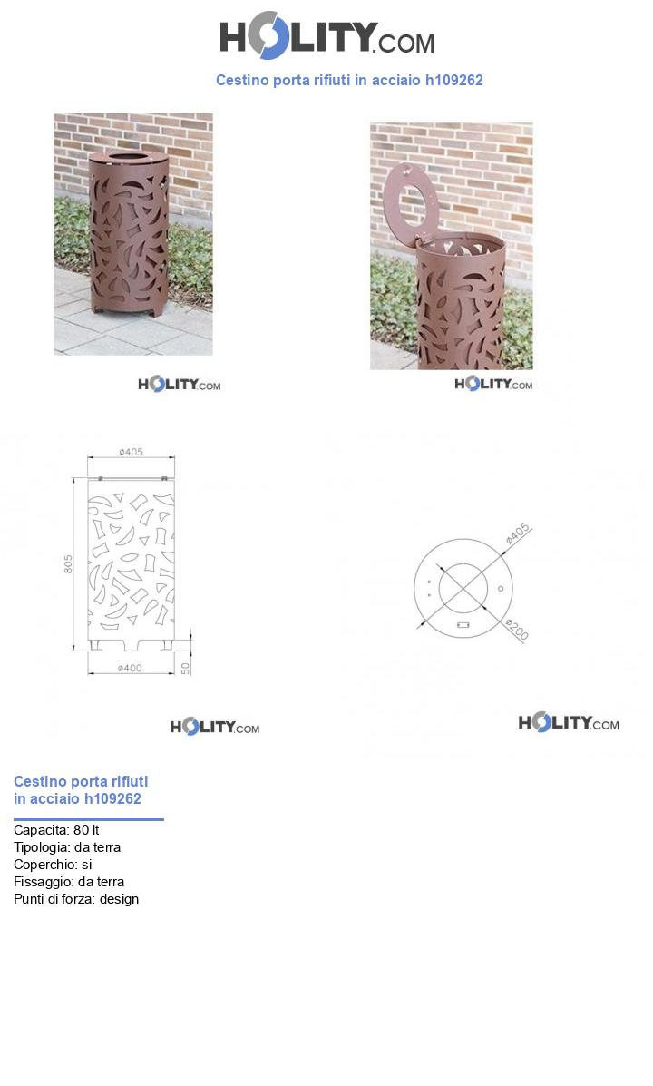 Cestino porta rifiuti in acciaio h109262