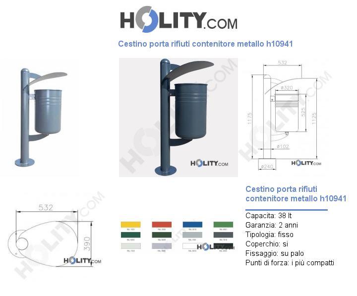Cestino porta rifiuti contenitore metallo h10941