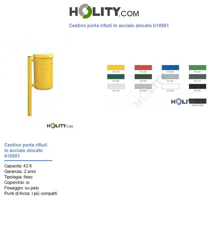 Cestino porta rifiuti in acciaio zincato h10951