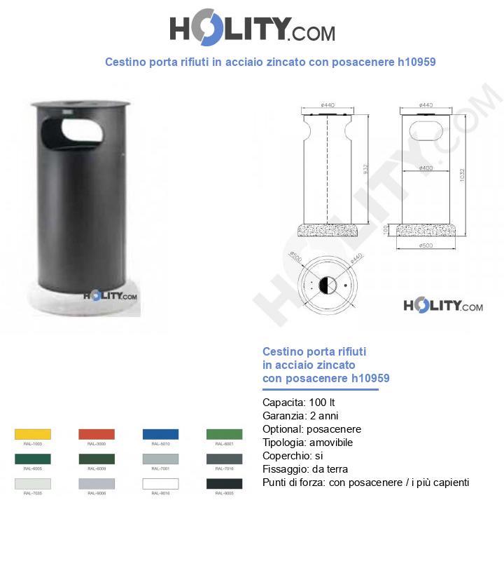 Cestino porta rifiuti in acciaio zincato con posacenere h10959