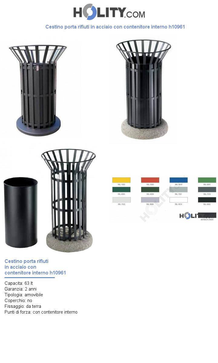 Cestino porta rifiuti in acciaio con contenitore interno h10961