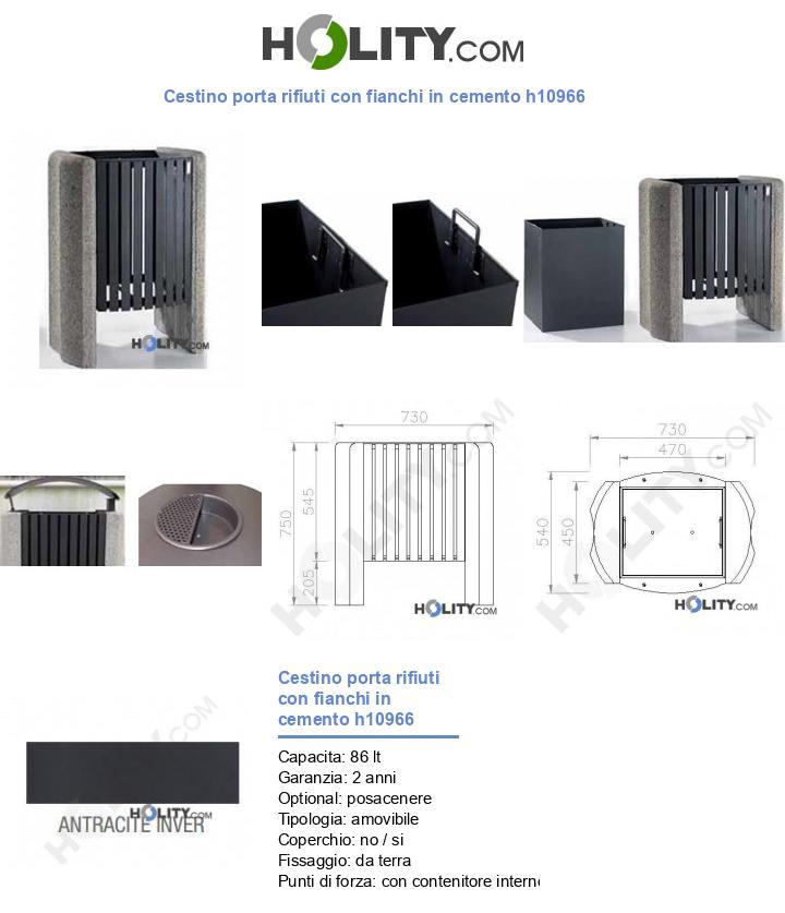 Cestino porta rifiuti con fianchi in cemento h10966