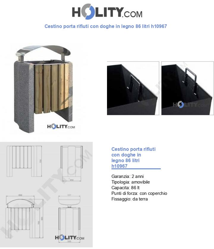 Cestino porta rifiuti con doghe in legno 86 litri h10967