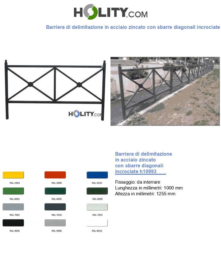 Barriera di delimitazione in acciaio zincato con sbarre diagonali incrociate h10993