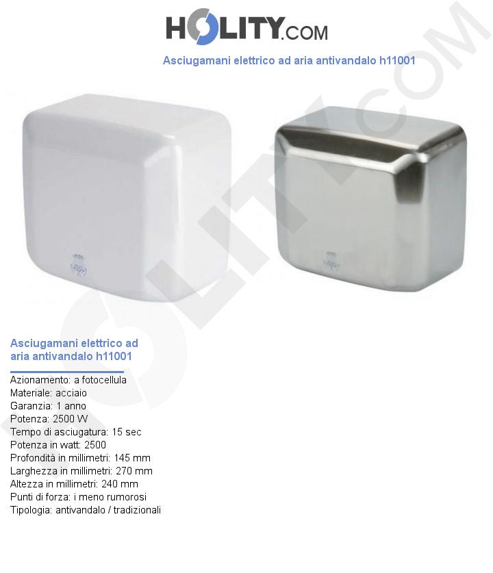Asciugamani elettrico ad aria antivandalo h11001