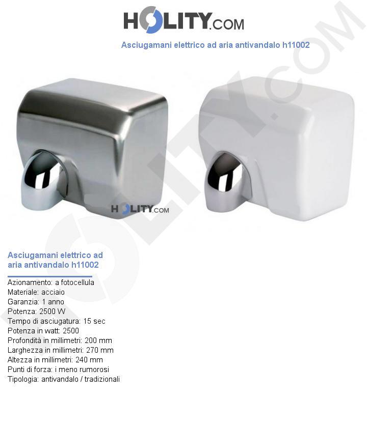 Asciugamani elettrico ad aria antivandalo h11002