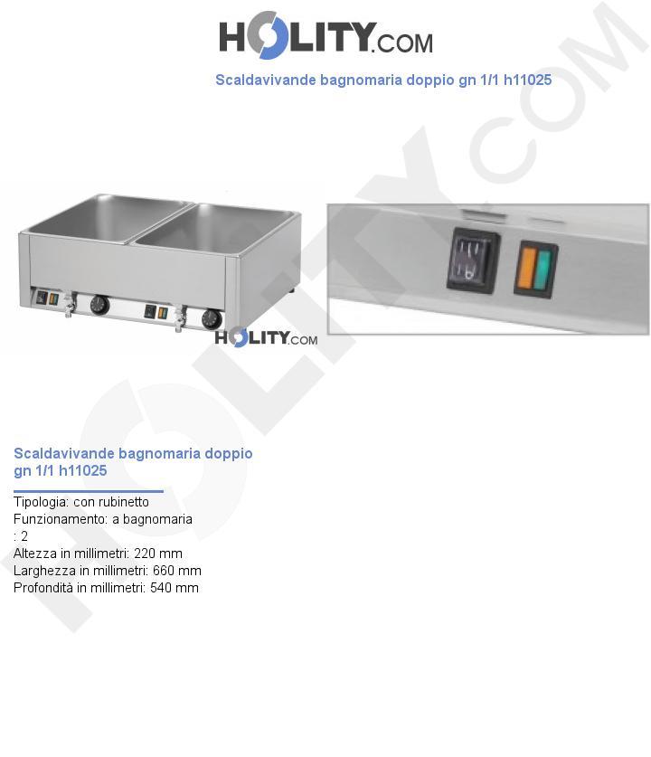 Scaldavivande bagnomaria doppio gn 1/1 h11025