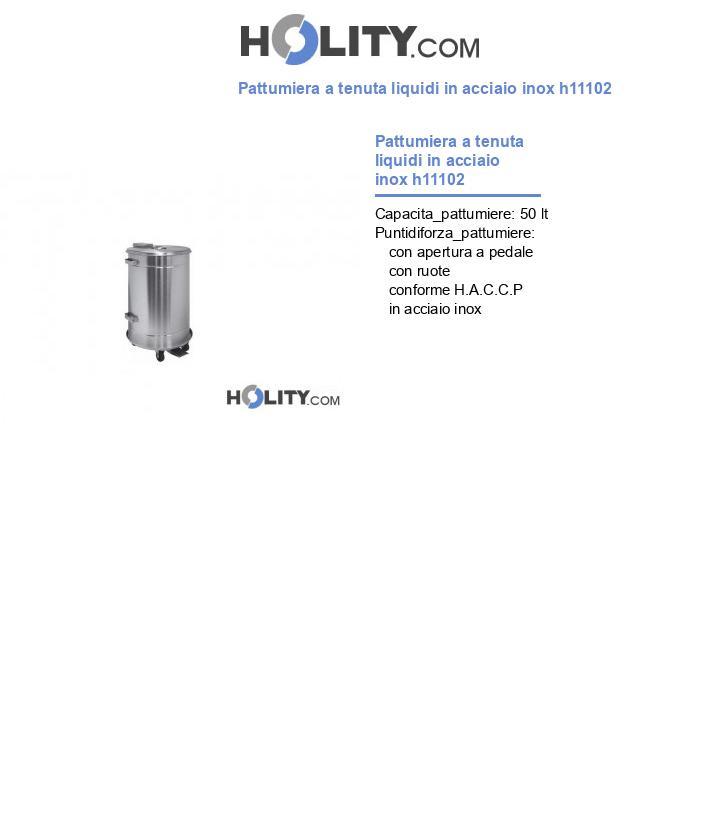 Pattumiera a tenuta liquidi in acciaio inox h11102