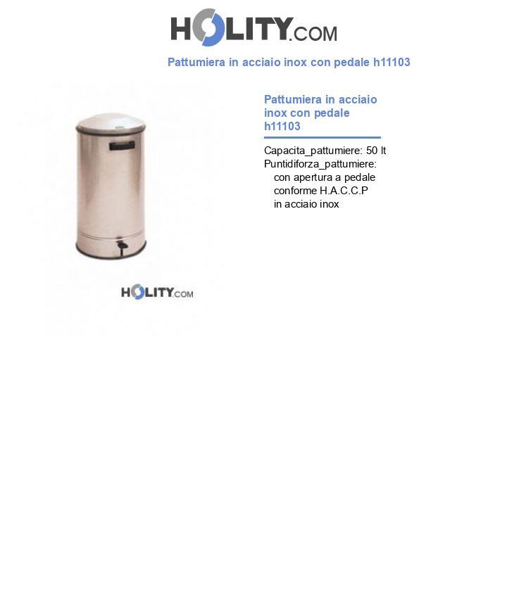 Pattumiera in acciaio inox con pedale h11103