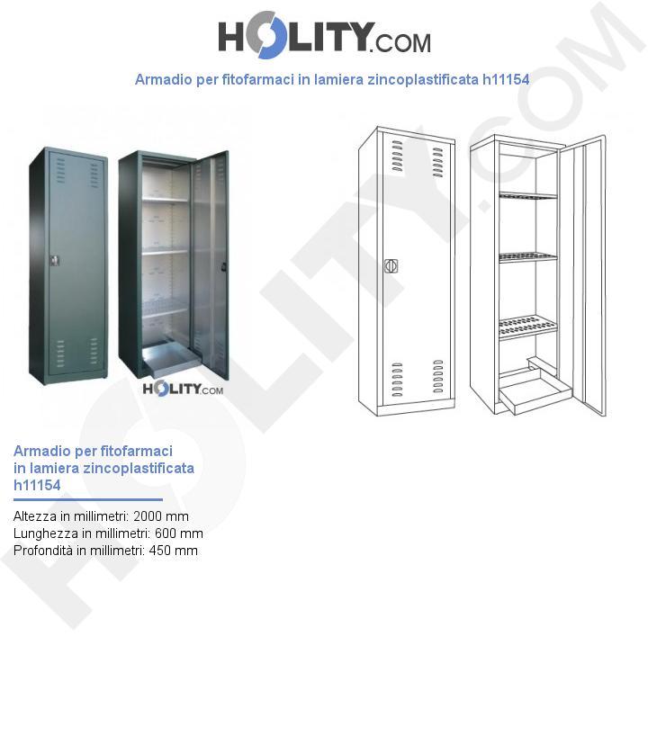 Armadio per fitofarmaci in lamiera zincoplastificata h11154