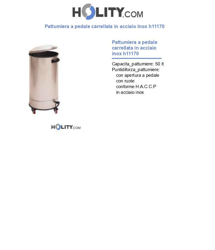 Pattumiera a pedale carrellata in acciaio inox h11170