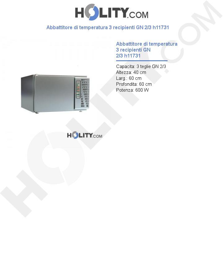 Abbattitore di temperatura 3 recipienti GN 2/3 h11731