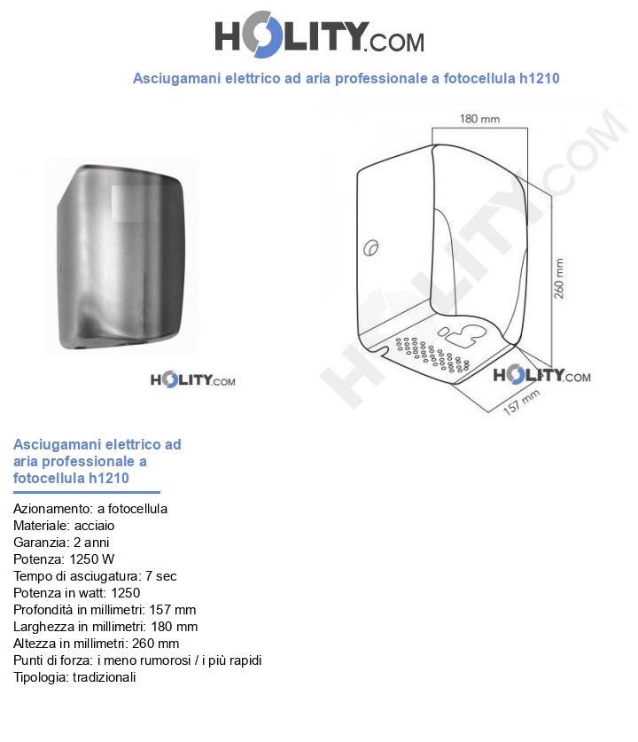 Asciugamani elettrico ad aria professionale a fotocellula h1210