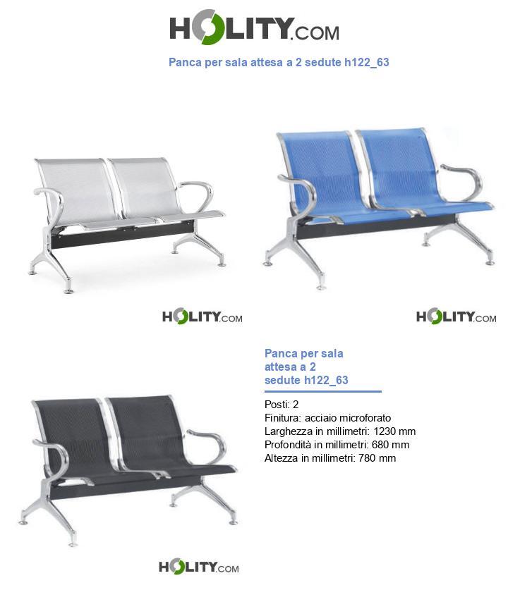 Panca per sala attesa a 2 sedute h122_63
