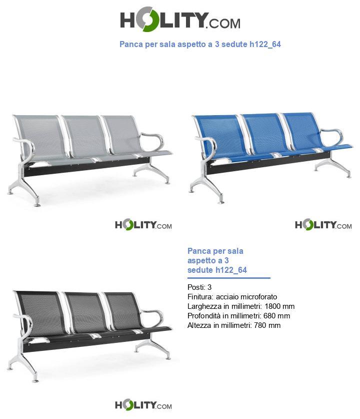 Panca per sala aspetto a 3 sedute h122_64