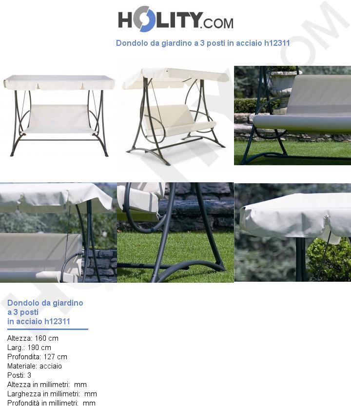 Dondolo da giardino a 3 posti in acciaio h12311