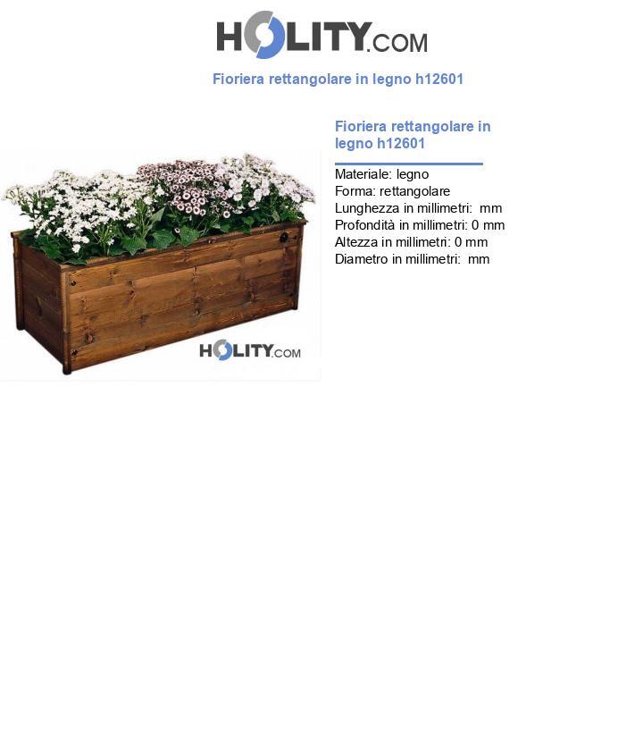 Fioriera rettangolare in legno h12601
