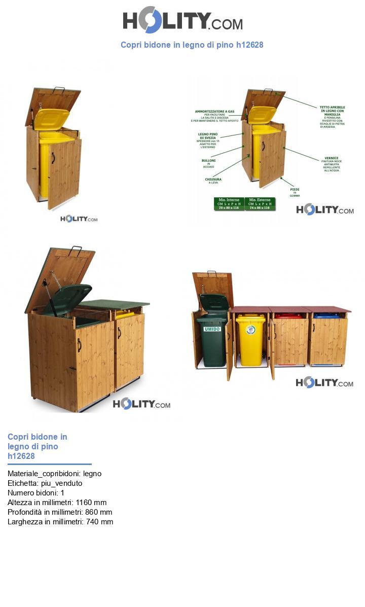 Copri bidone in legno di pino h12628