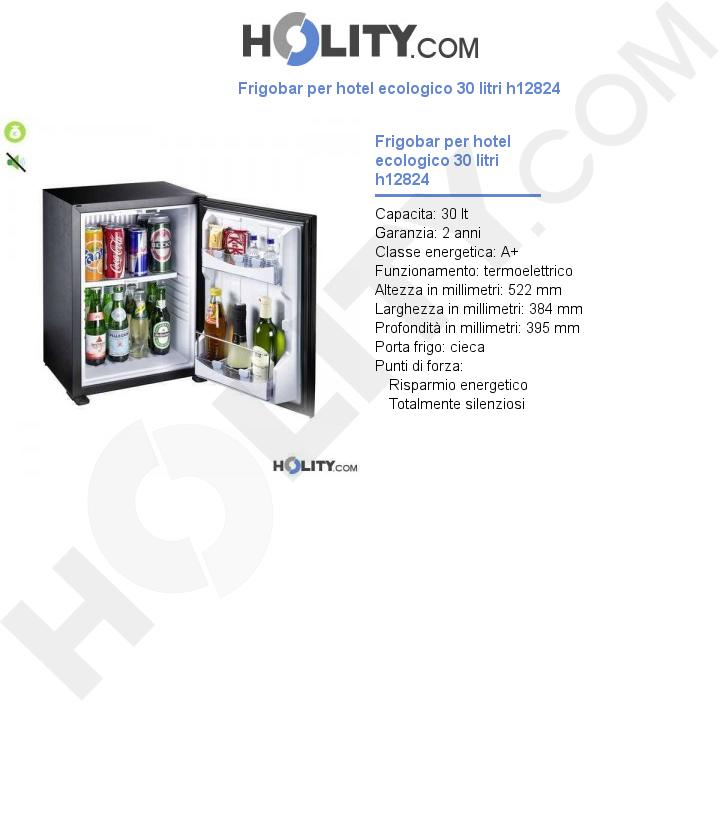 Frigobar per hotel ecologico 30 litri h12824
