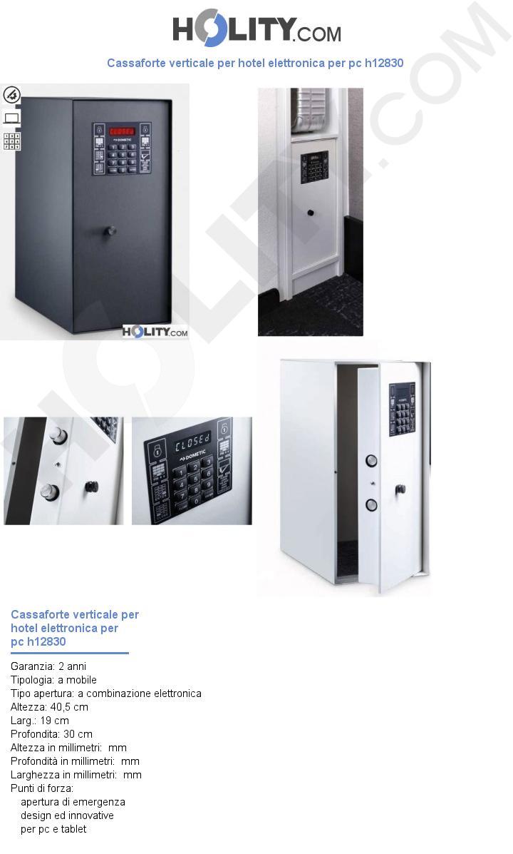 Cassaforte verticale per hotel elettronica per pc h12830