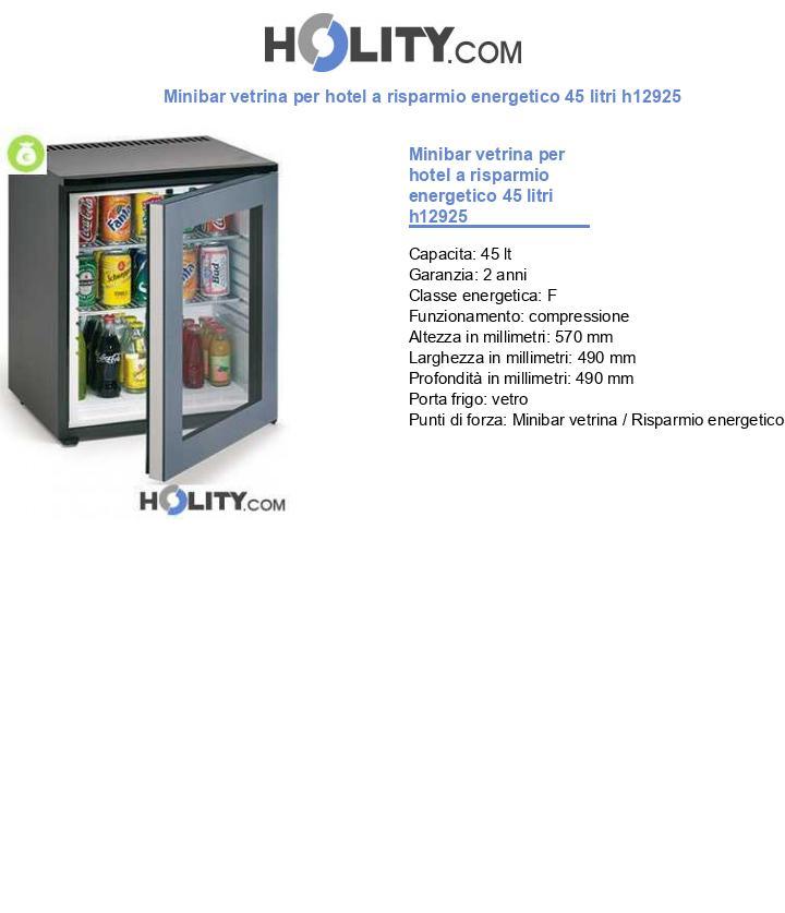 Minibar vetrina per hotel a risparmio energetico 60 litri h12925
