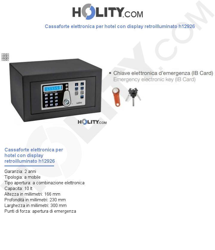 Cassaforte elettronica per hotel con display retroilluminato h12926