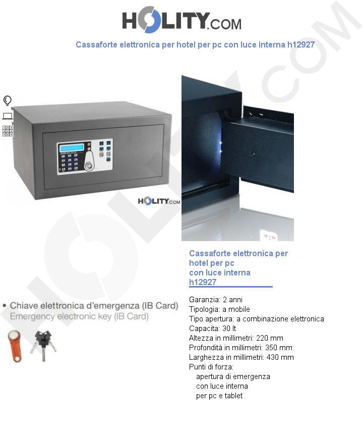 Cassaforte elettronica per hotel per pc con luce interna h12927