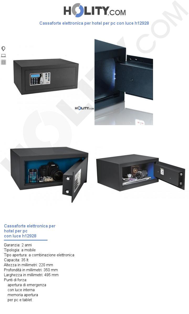 Cassaforte elettronica per hotel per pc con luce h12928