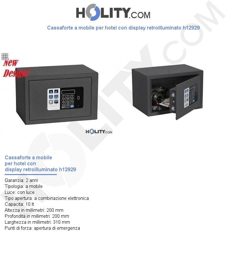 Cassaforte a mobile per hotel con display retroilluminato h12929
