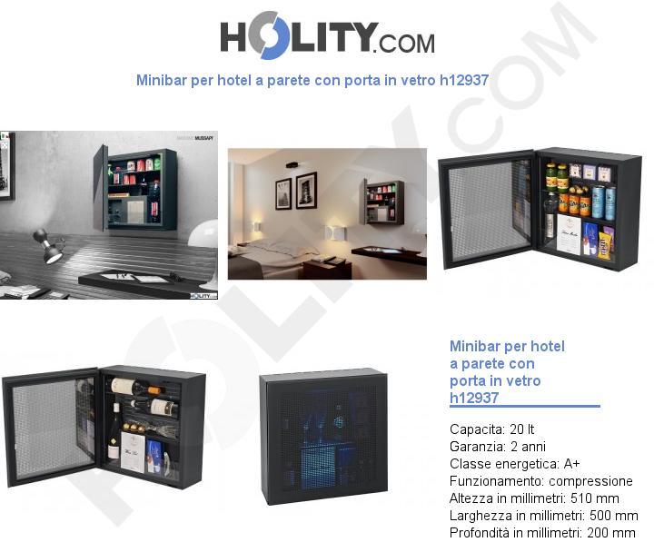 Minibar per hotel a parete con porta in vetro h12937