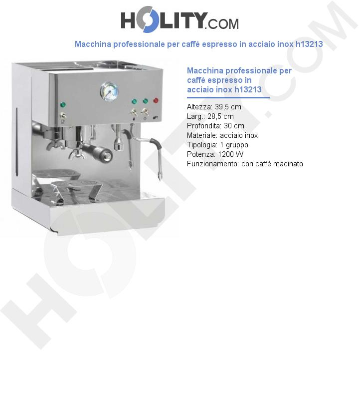 Macchina professionale per caffè espresso in acciaio inox h13213